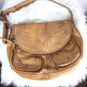 Lucky Brand embroidered leather shoulder bag